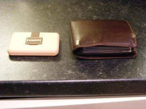 Size comparison of  Pokitt versus my wallet.